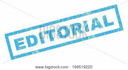 Editorial text rubber seal stamp watermark. Tag inside rectangular banner with grunge design and dust texture. Inclined vector blue ink emblem on a white background.