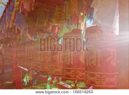Buddhist prayer wheels in Saint-Petersburg Russia Buddhist Temple Datsan Gunzechoyney