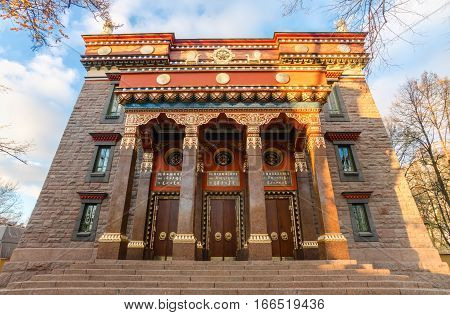 The Datsan Gunzechoinei is a large Buddhist temple. St. Petersburg Russia. Buddhist datsan facade