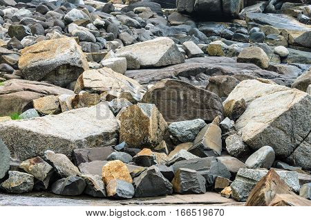 Many Sea Rocks, Big Rocks And Small Rocks