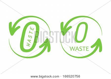 Set, collection of zero waste trendy green signs, symbols, design elements for web and print.