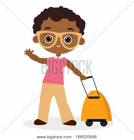 African American boy with glasses and packsack travel. Travelling with the knapsack. Vector illustration eps 10 isolated on white background. Flat cartoon style