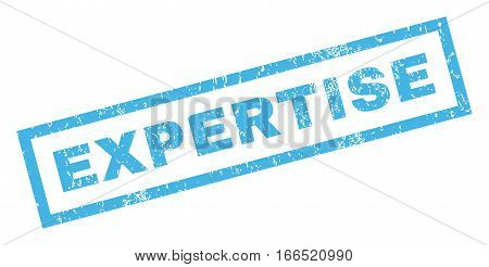 Expertise text rubber seal stamp watermark. Tag inside rectangular banner with grunge design and unclean texture. Inclined vector blue ink emblem on a white background.