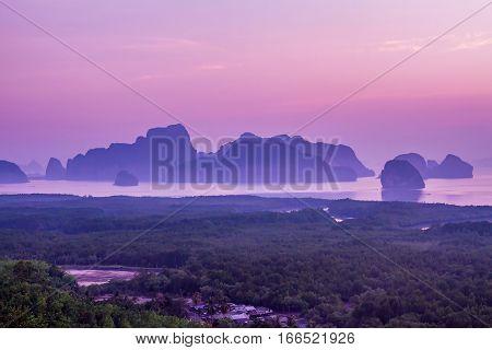 Amazing view and colorful sunrise at Sa Met Nang She in Phang Nga bay, Thailand