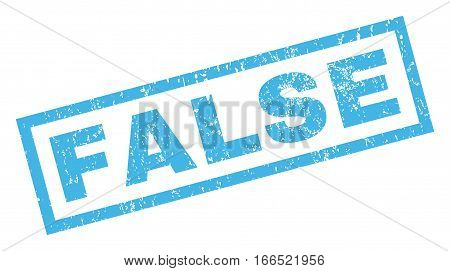 False text rubber seal stamp watermark. Tag inside rectangular shape with grunge design and dust texture. Inclined vector blue ink sign on a white background.