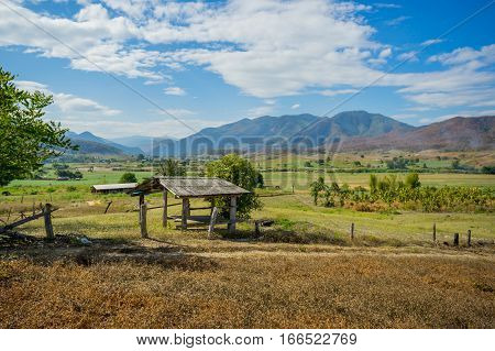 Natural view with small hut at Pai, Thailand.