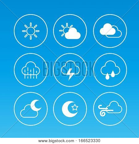 weather icons set collection symbol blue background flat design vector stock