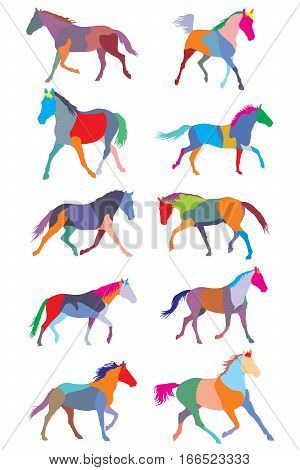 illustration with colorful trotting horse silhouettes collection isolated on white background