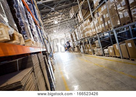 Interior of a modern large big warehouse