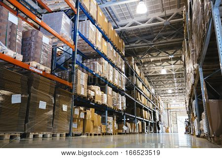 Interior of a modern warehouse in modern life