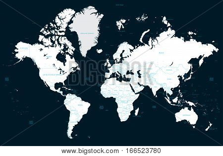 High detail political world map on a dark background and big cities. Vector