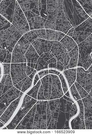 Moscow city plan, detailed vector map view from above