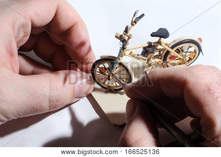 Miniature Of Wooden Bicycle