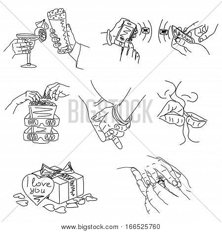 Love Story - set of vector illustrations of love. Cute Romantic simple drawings black ballpoint pen cliparts on a white background