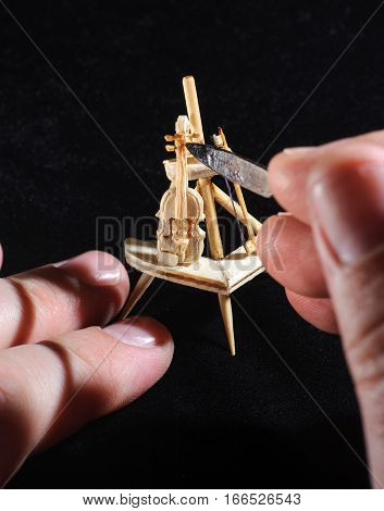 Wooden Miniature Of Violin