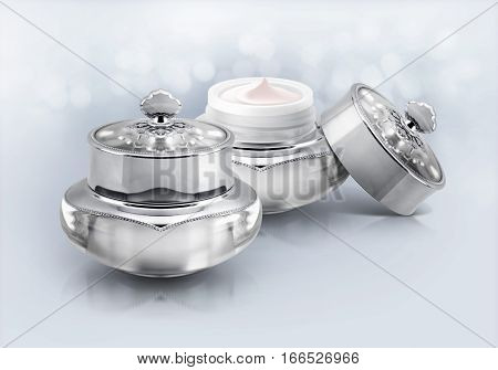 Silver deluxe cosmetic jar on glitter background