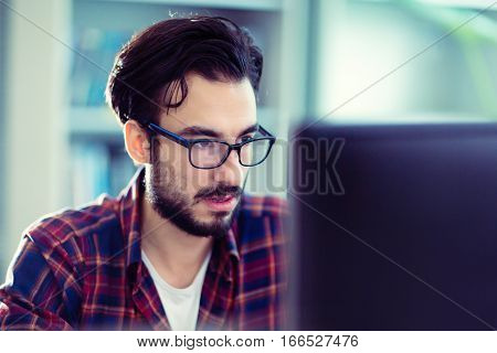 Programmer working at software developement company office