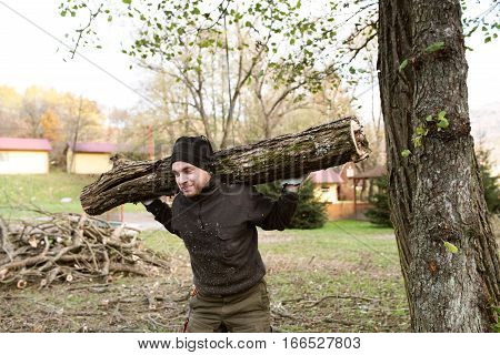Man carrying big heavy tree trunk on his shoulders for heating in winter season.