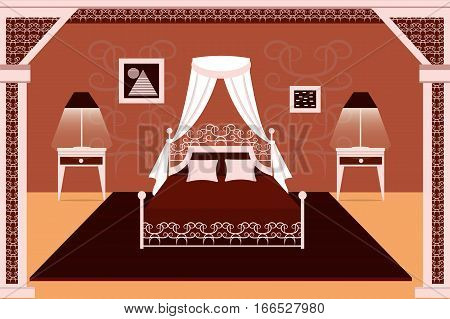 The interior of the bedroom. Bed carpet lamp bedside table . Flat design. Vector illustration.
