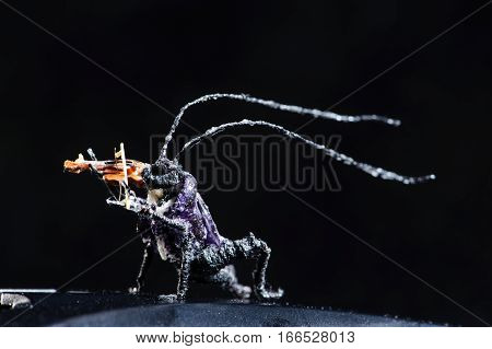 Miniature Of Insect Playing Violin