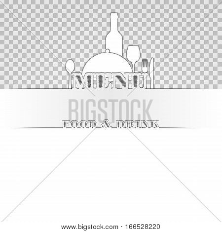 Menu Cover Template food and drink cut out of paper. The image on a white background is compatible with any image or text.