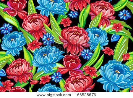 Floral seamless pattern in traditional style. Vector illustration
