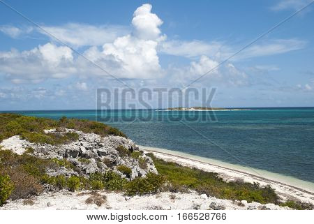 The view of an empty beach on Grand Turk island (Turks & Caicos).