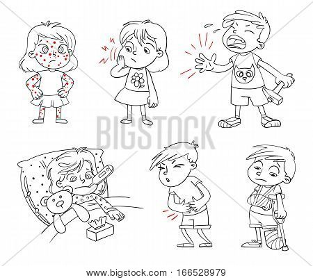 Children get sick. Child has high temperature. Boy hit with hammer on finger. Toothache. Boy's stomach ache. Girl's body rash. Broken limbs. Funny cartoon character. Vector illustration. Coloring book