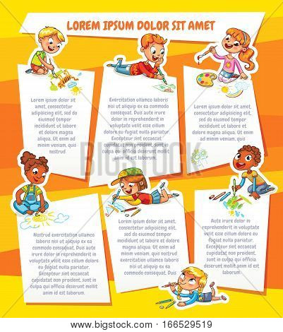 Children draw on paper. Template for advertising brochure. Ready for your message. Children look up with interest. Kid pointing at a blank template. Funny cartoon character. Vector illustration