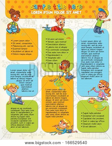 Little kid lying on her stomach and making drawing on paper. Colorful template for advertising brochure with cute children. Space for text. Infographic. Funny cartoon character. Vector illustration