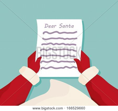 Dear Santa letter. Christmas Greeting Card. List from the children's