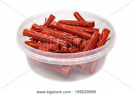 Set of 10 mm diameter red plastic anchors in storage box