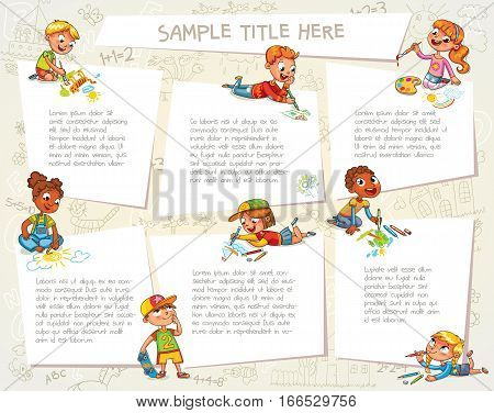 Little kid lying on her stomach and making a drawing on a paper. Happy children holding blank poster. Template for advertising brochure. Ready for your message. Kids look at a placard with interest