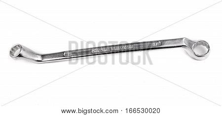 spanner wrench curved isolated on white background