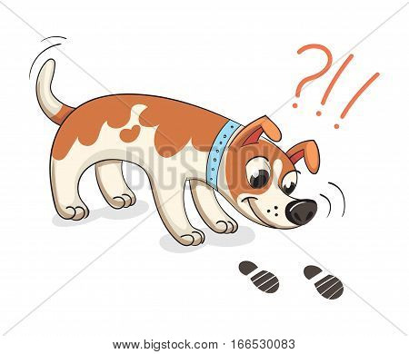 Dog sniffing traces of human. Funny cartoon character. Vector illustration. Isolated on white background