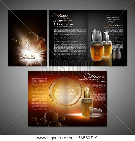 Vector cosmetic brochure template. Modern creative idea with premium flacons for poster, print, flyer, booklet, brochure and leaflet design. Editable graphic illustration in black and gold colours.