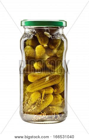 Pickled gherkins in a jar of glass isolated on white background