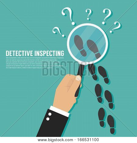Detective inspecting .  Vector template for website
