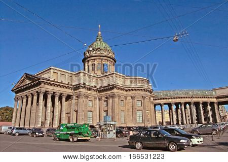 SAINT-PETERSBURG, RUSSIA - SEPTEMBER 18, 2008: Kazan Cathedral on Nevsky Prospekt in St. Petersburg, Russia. Kazan Cathedral or Kazanskiy Kafedralniy Sobor is also known as the Cathedral of Our Lady of Kazan
