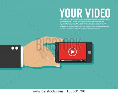 Smartphone with video player.  Vector template for website
