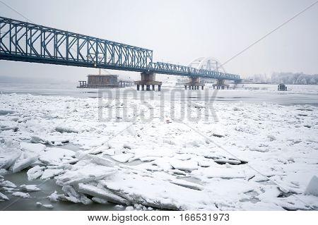 Frozen Danube River