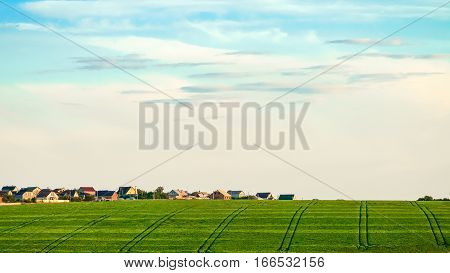 Green field with tractor tracks in the background of village houses. Agricultural background with tractor ruts.