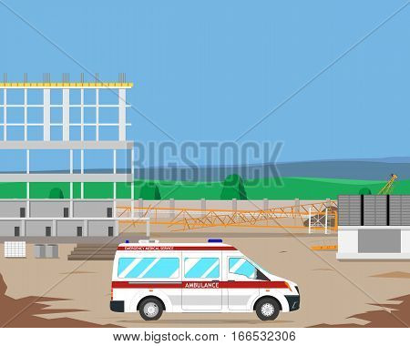 The ambulance workers called a construction site, and said that the accident occurred when a crane fell. Vector illustration