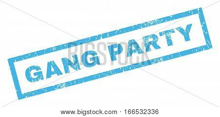 Gang Party text rubber seal stamp watermark. Tag inside rectangular banner with grunge design and unclean texture. Inclined vector blue ink sticker on a white background.