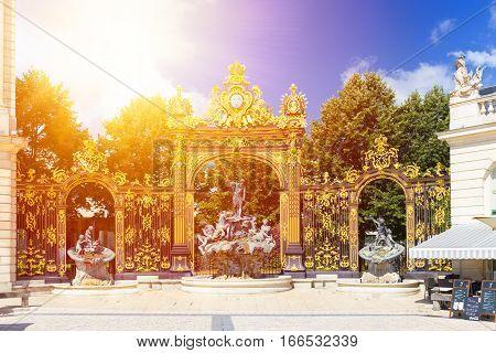 Neptune Fountain, Lorraine And Golden Gate On Stanislas Square