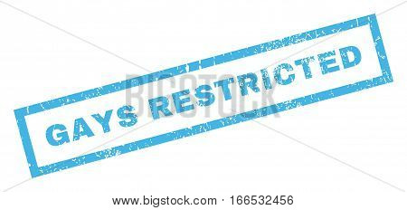 Gays Restricted text rubber seal stamp watermark. Tag inside rectangular banner with grunge design and unclean texture. Inclined vector blue ink emblem on a white background.
