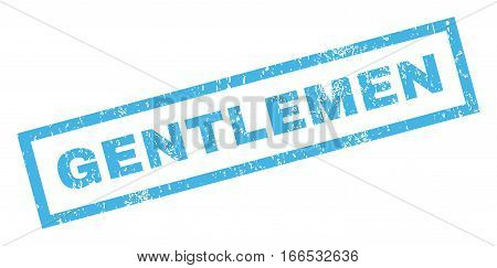 Gentlemen text rubber seal stamp watermark. Tag inside rectangular banner with grunge design and dirty texture. Inclined vector blue ink emblem on a white background.