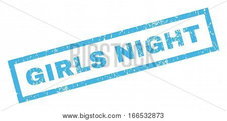 Girls Night text rubber seal stamp watermark. Tag inside rectangular shape with grunge design and dust texture. Inclined vector blue ink sign on a white background.