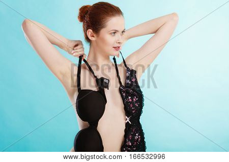 Girl With Black Soft And Pushup Bra Brassiere.