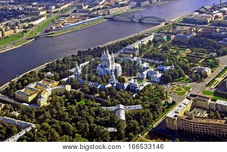 Bird's-eye view of St. Petersburg. Smolny Cathedral. Russia.
